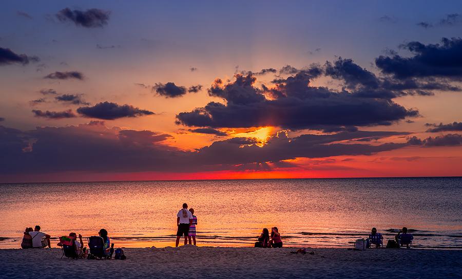 NAPLES, UNITED STATES, NOVEMBER 30, 2017 : pier jetty at sunset , november 30, 2017, in Naples, Florida, united states