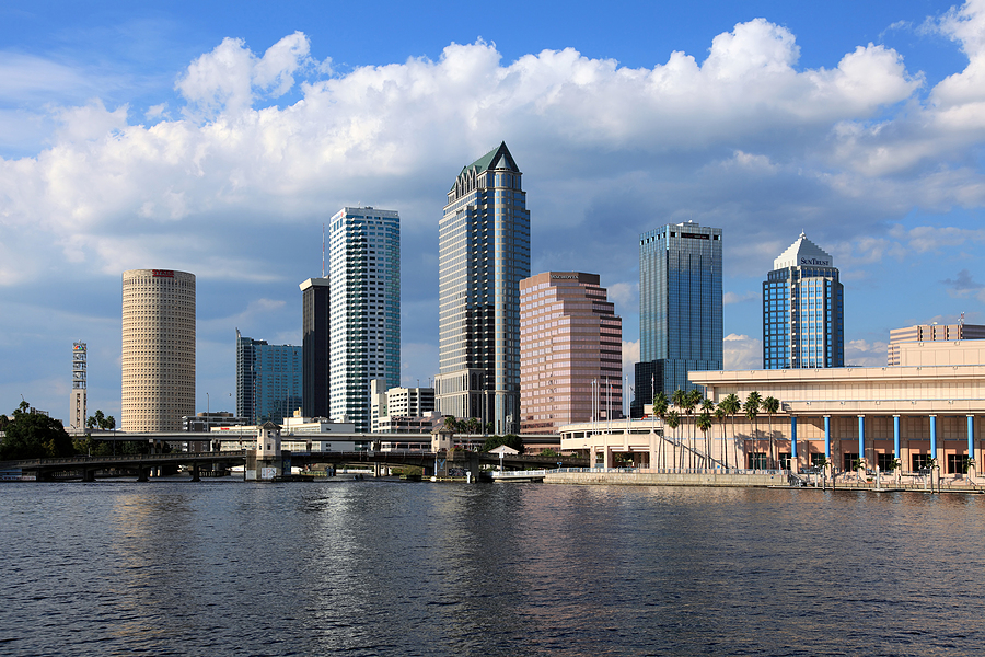 Downtown Tampa on a bright sunny day in October of 2009